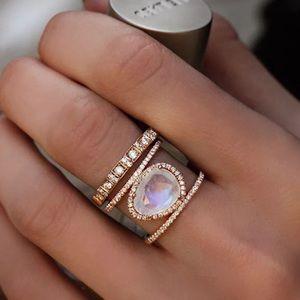 {DANIELLE} boho moonstone rose gold statement ring